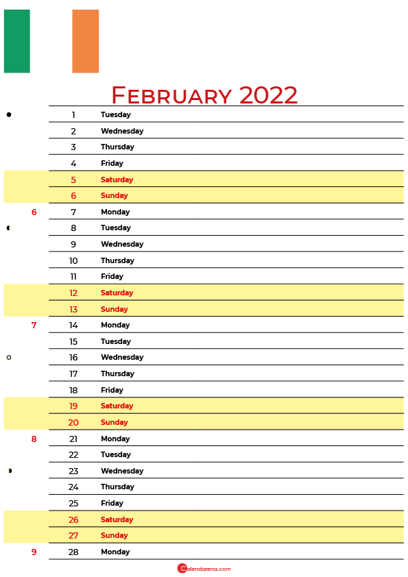 calendar february 2022 ireland