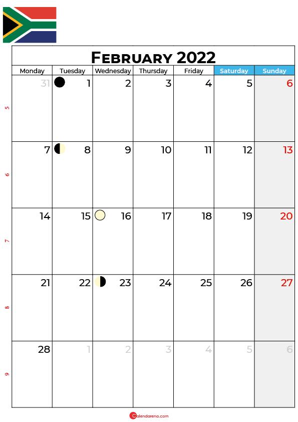 calendar february 2022 south africa