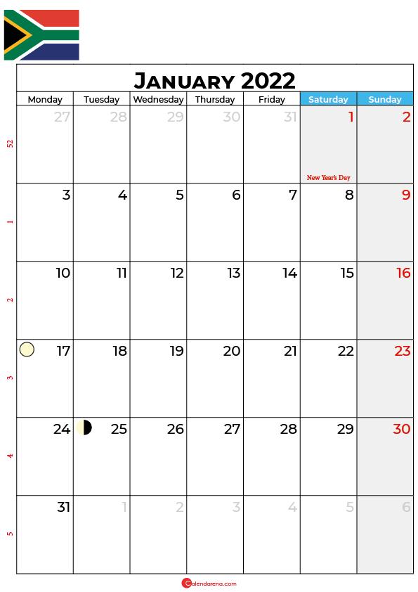 calendar january 2022 south africa