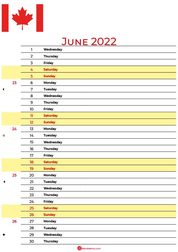 calendar june 2022 canada