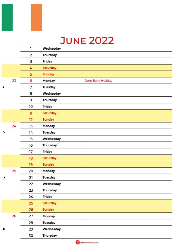 calendar june 2022 ireland