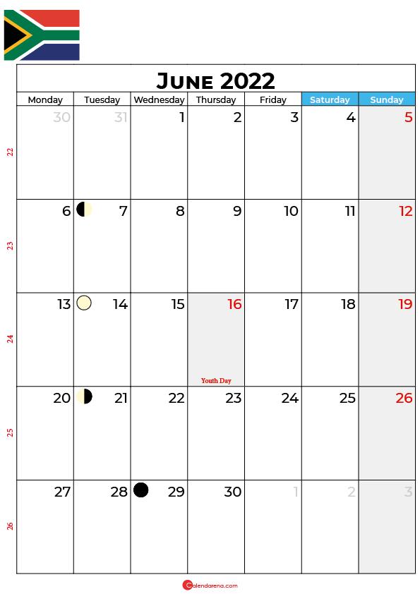 calendar june 2022 south africa