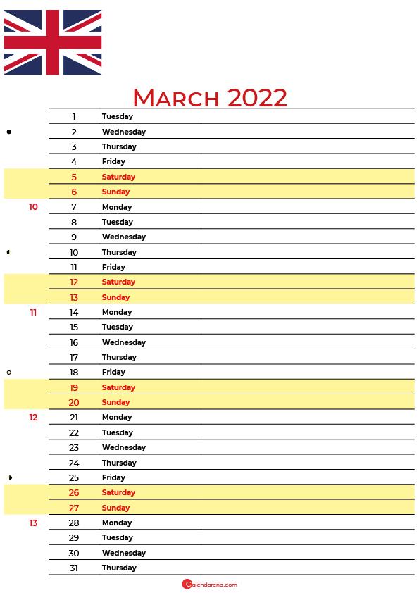 calendar march 2022 UK