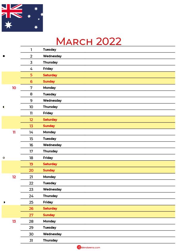 calendar march 2022 australia