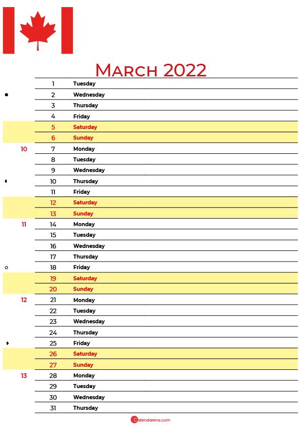 calendar march 2022 canada