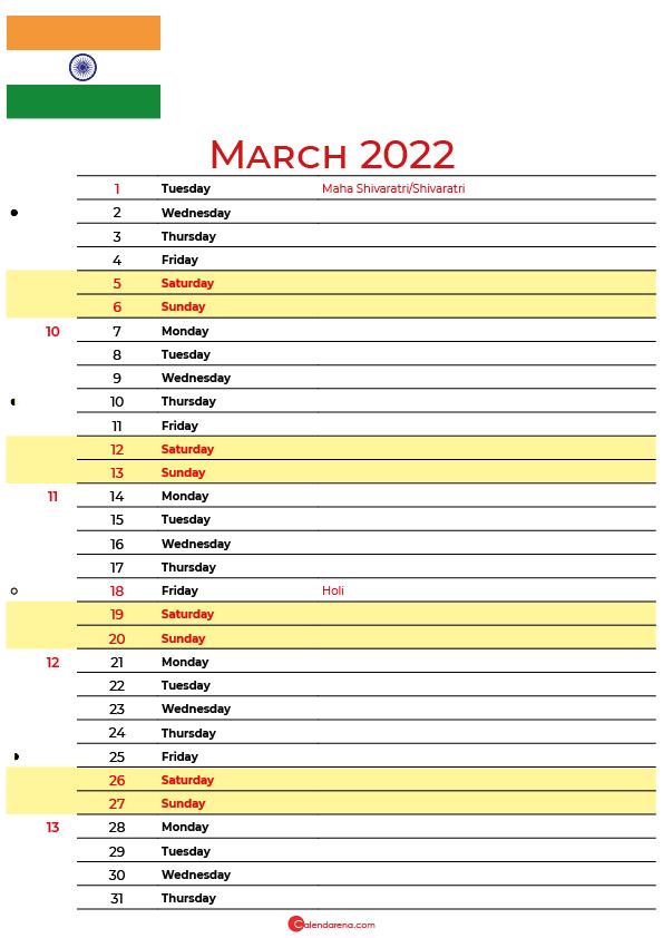 calendar march 2022 india