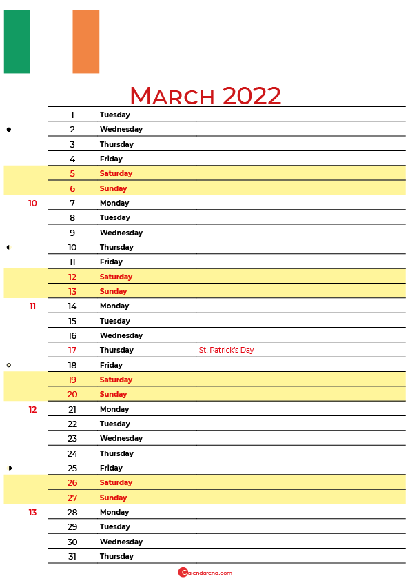calendar march 2022 ireland