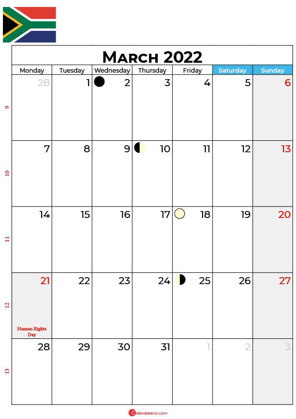 calendar march 2022 south africa
