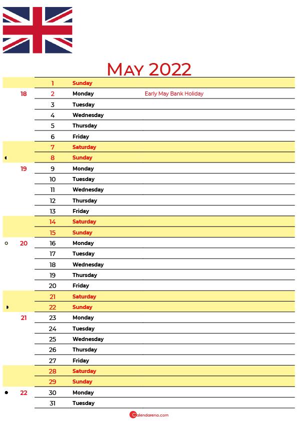 calendar may 2022 UK