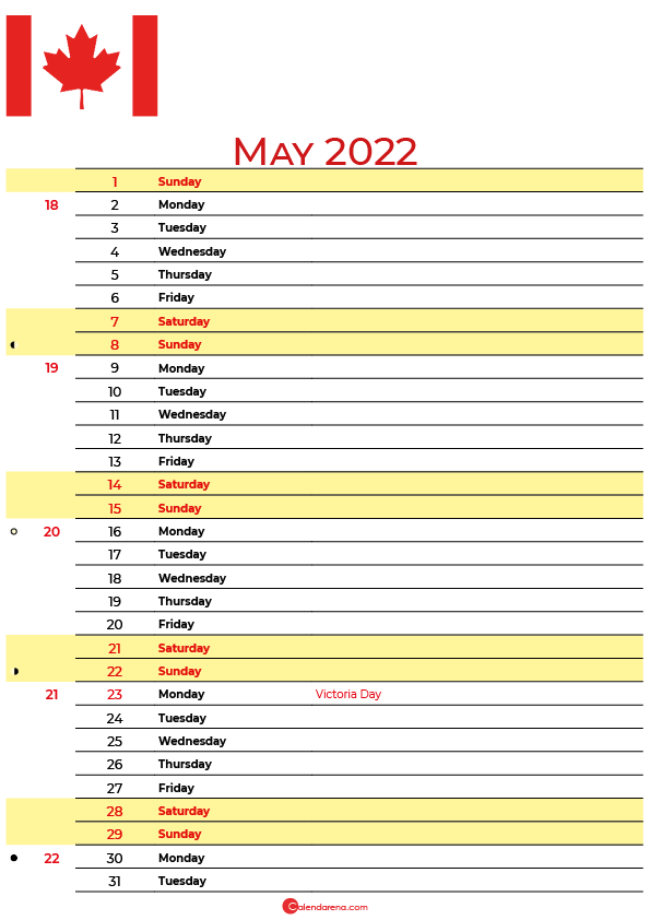 calendar may 2022 canada