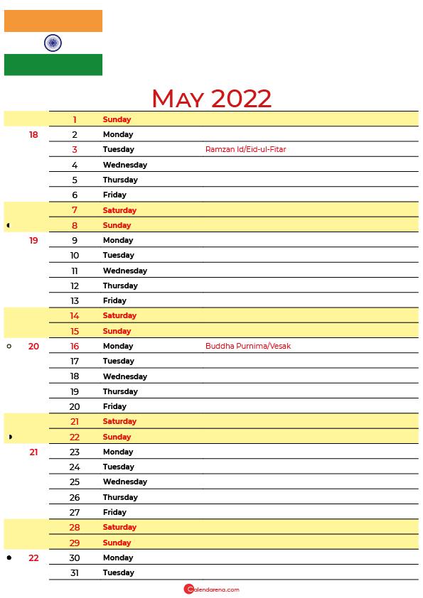 calendar may 2022 india