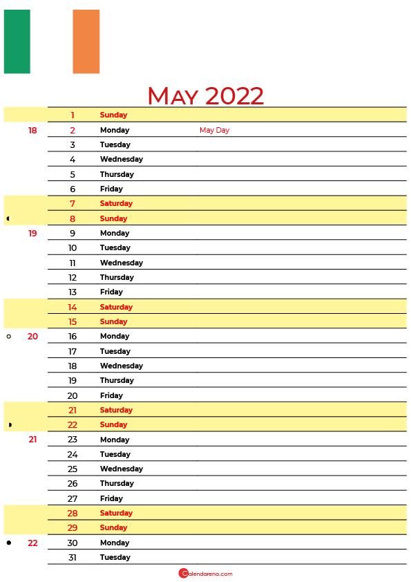 calendar may 2022 ireland