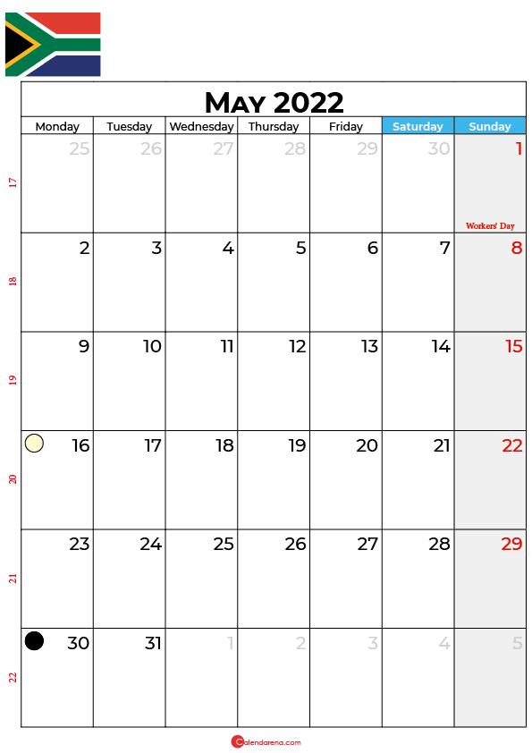 calendar may 2022 south africa