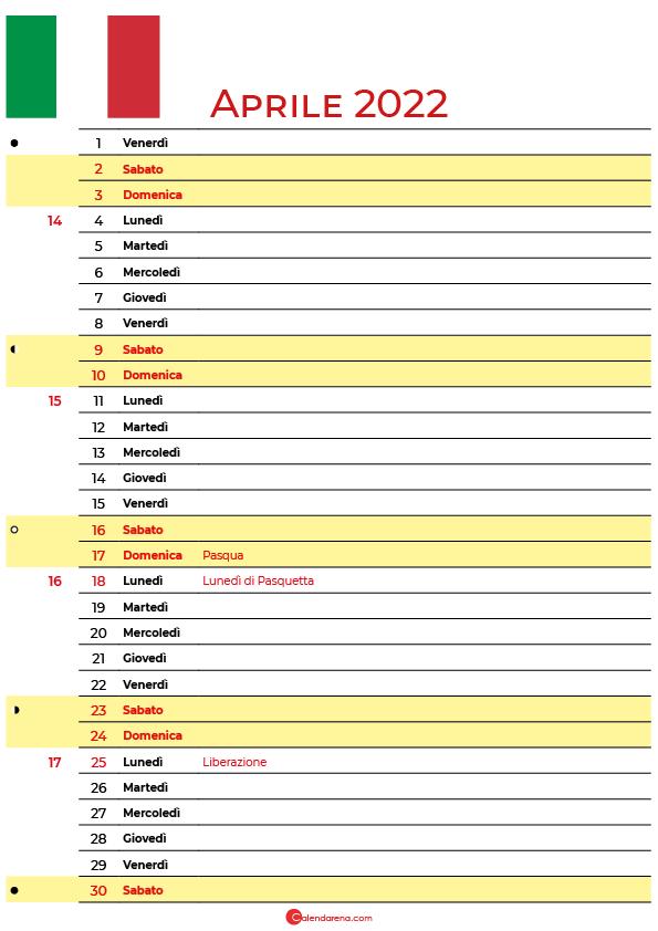 calendario Aprile 2022 da stampare
