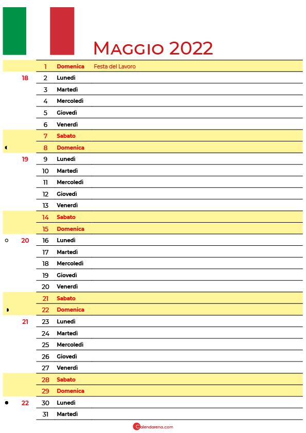 calendario Maggio 2022 da stampare