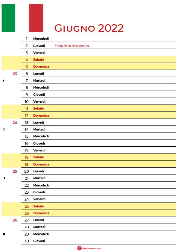 calendario giugno 2022 da stampare