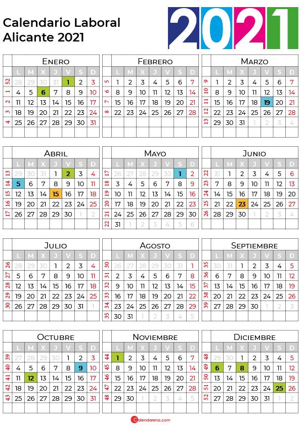 calendario laboral 2021 Alicante