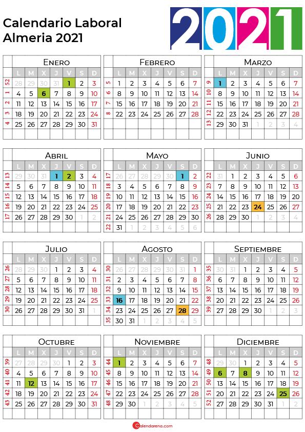 calendario laboral 2021 Almeria