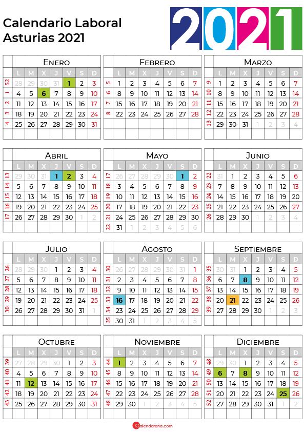 calendario laboral 2021 Asturias