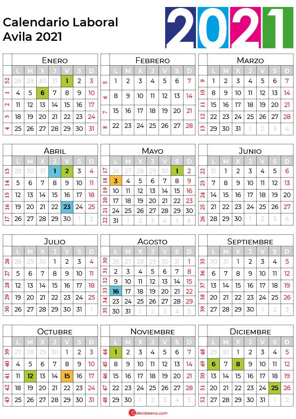 calendario laboral 2021 Avila