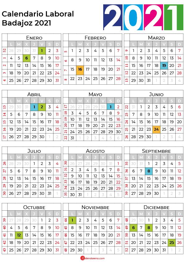 calendario laboral 2021 Badajoz