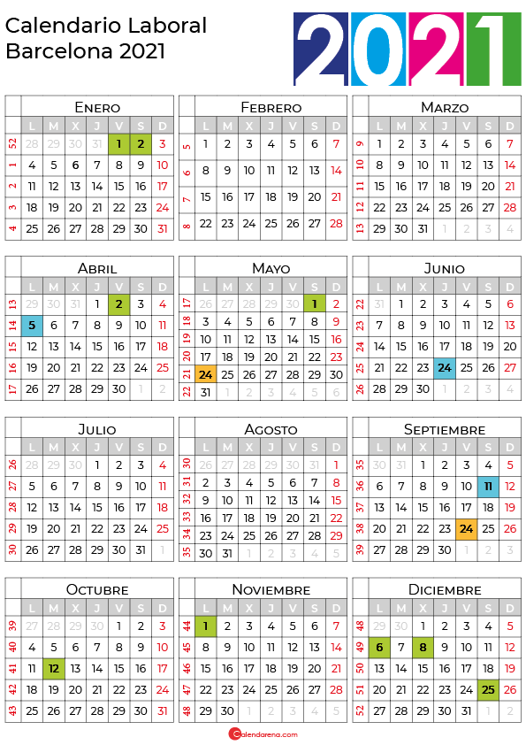 calendario laboral 2021 Barcelona