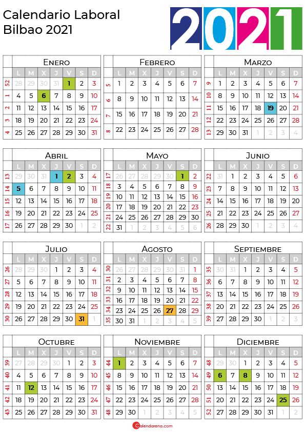calendario laboral 2021 Bilbao