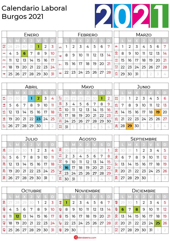 calendario laboral 2021 Burgos
