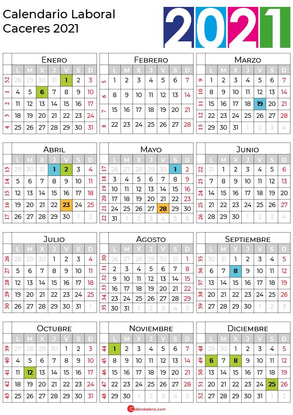 calendario laboral 2021 Caceres