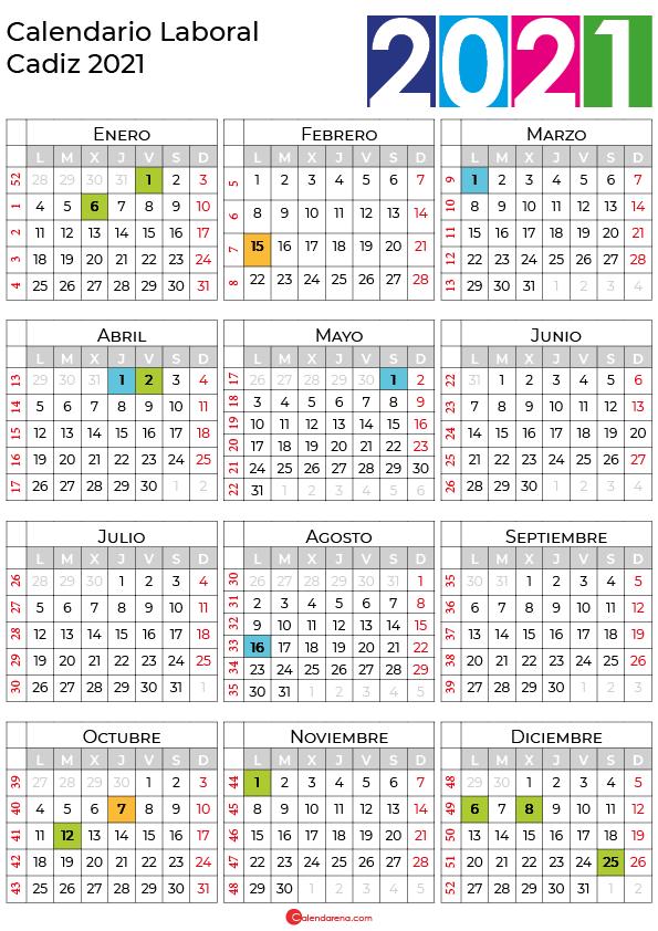 calendario laboral 2021 Cadiz