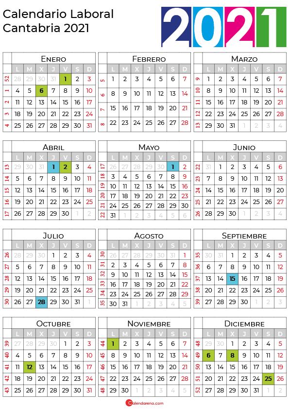 calendario laboral 2021 Cantabria