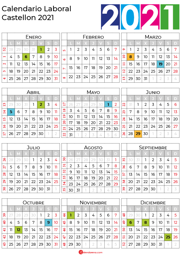 calendario laboral 2021 Castellon