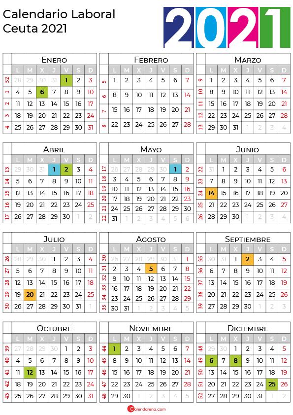calendario laboral 2021 Ceuta