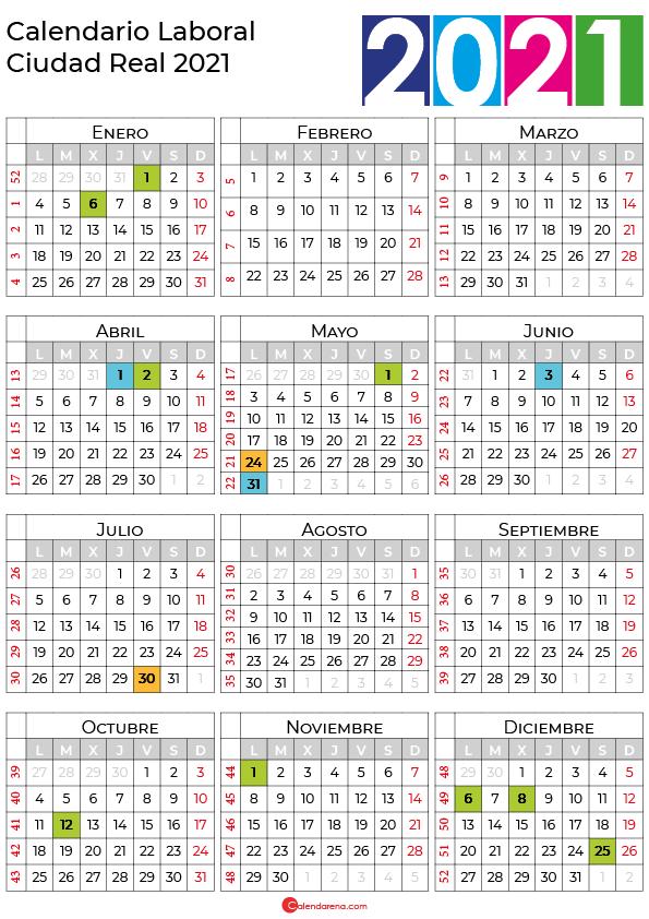 calendario laboral 2021 Ciudad Real