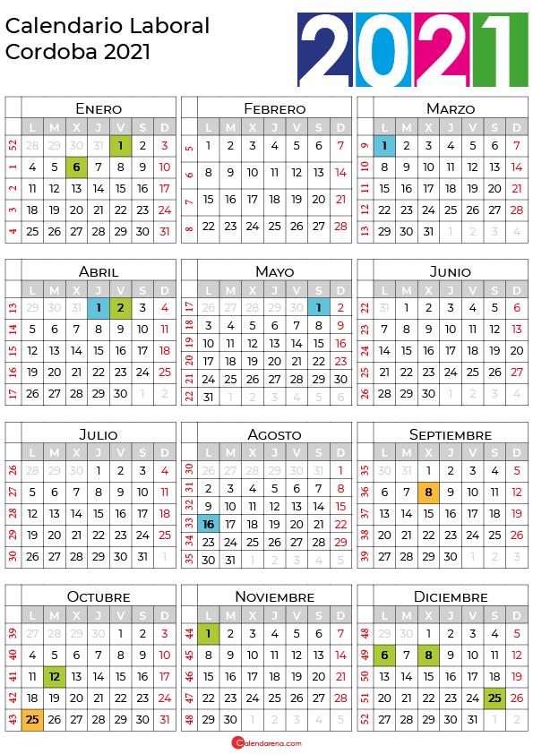 calendario laboral 2021 Cordoba