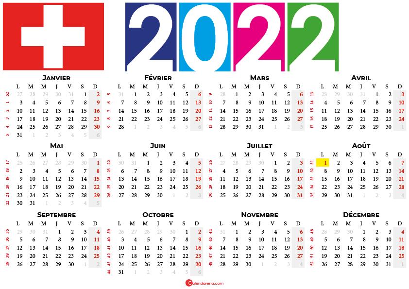 calendrier 2022 à imprimer suisse