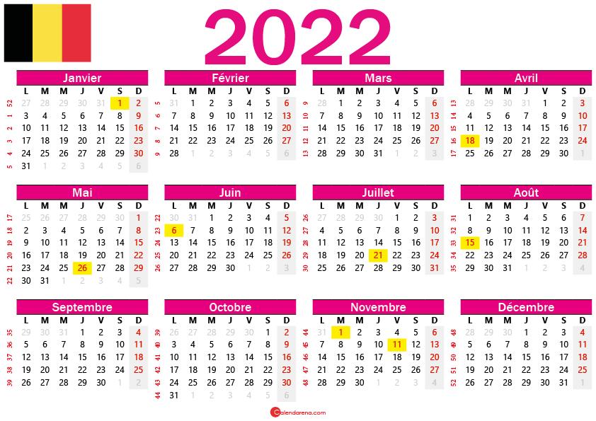 calendrier 2022 gratuit belgique