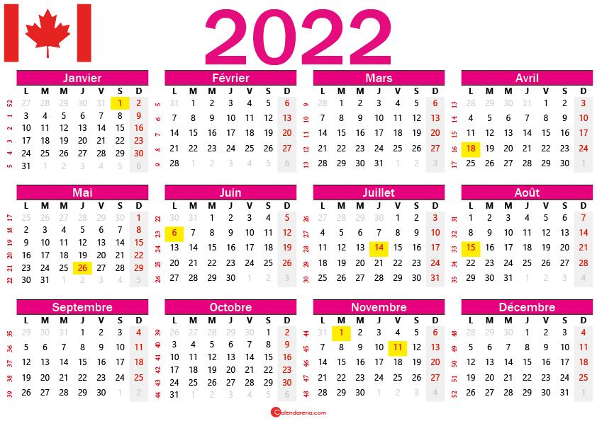 calendrier 2022 gratuit canada