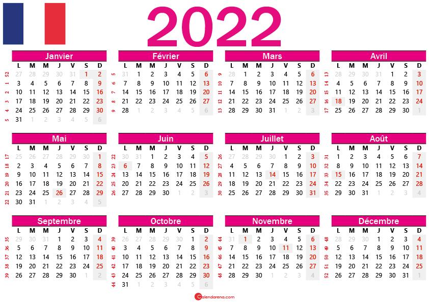 calendrier 2022 gratuit france