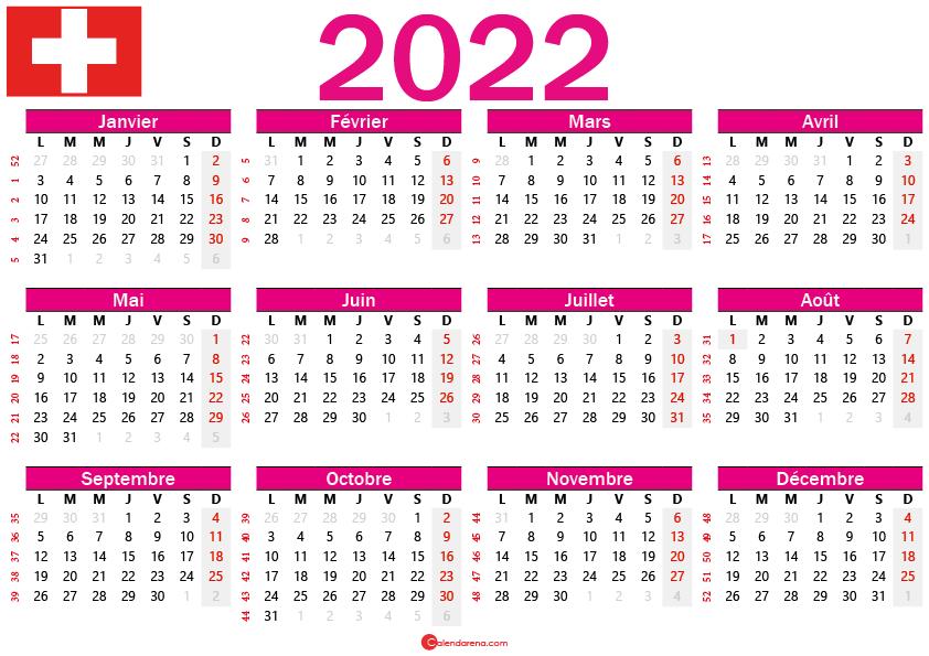 calendrier 2022 gratuit suisse