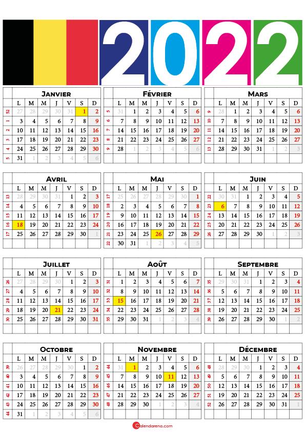 calendrier 2022 semaine belgique