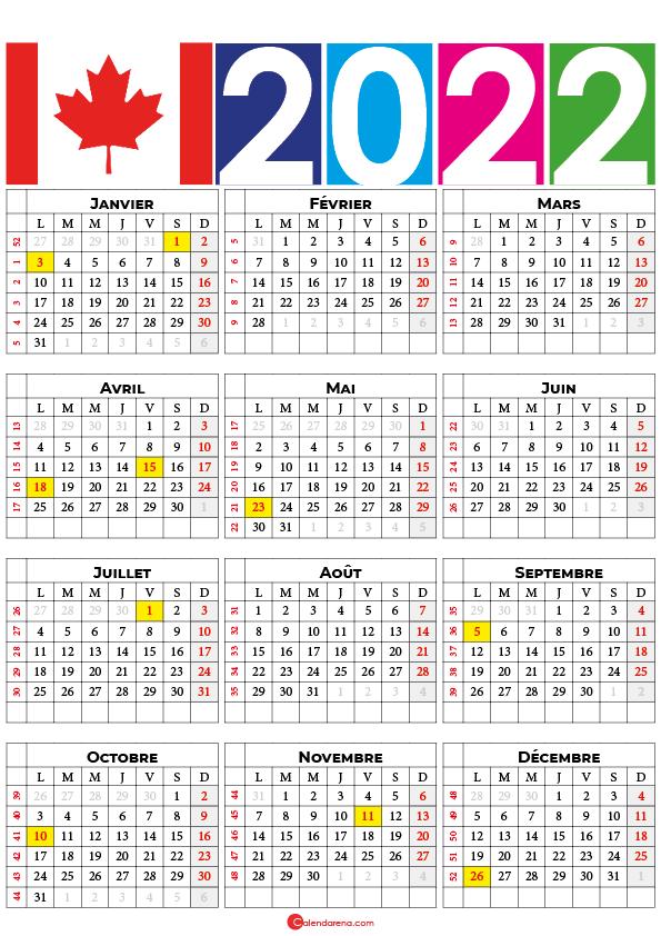 calendrier 2022 semaine canada