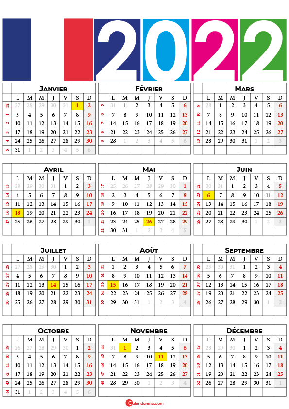 calendrier 2022 semaine france