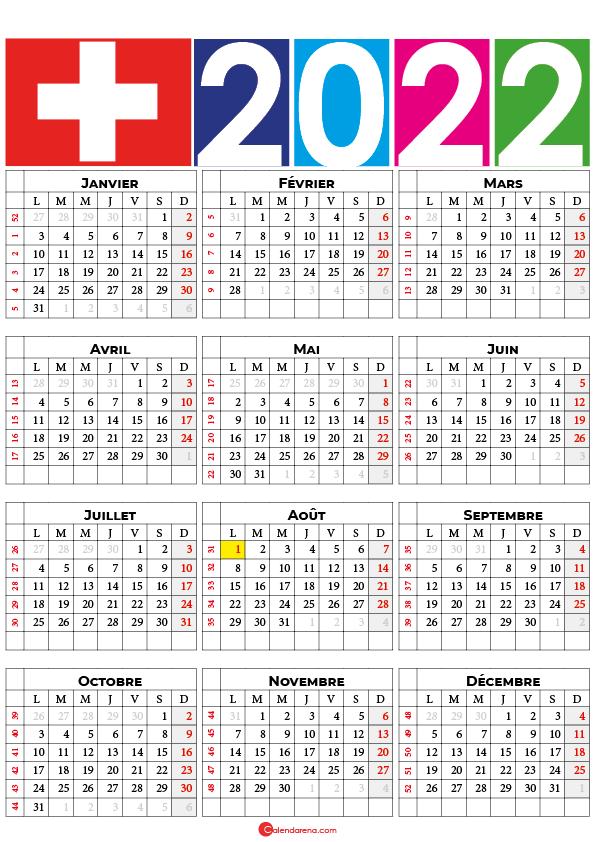 calendrier 2022 semaine suisse