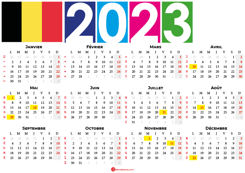 calendrier 2023 à imprimer belgique