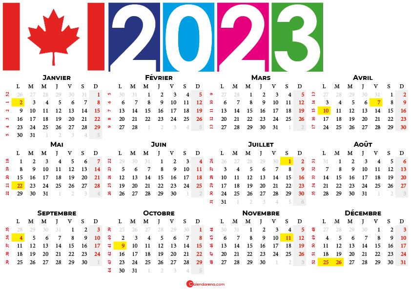 calendrier 2023 à imprimer canada