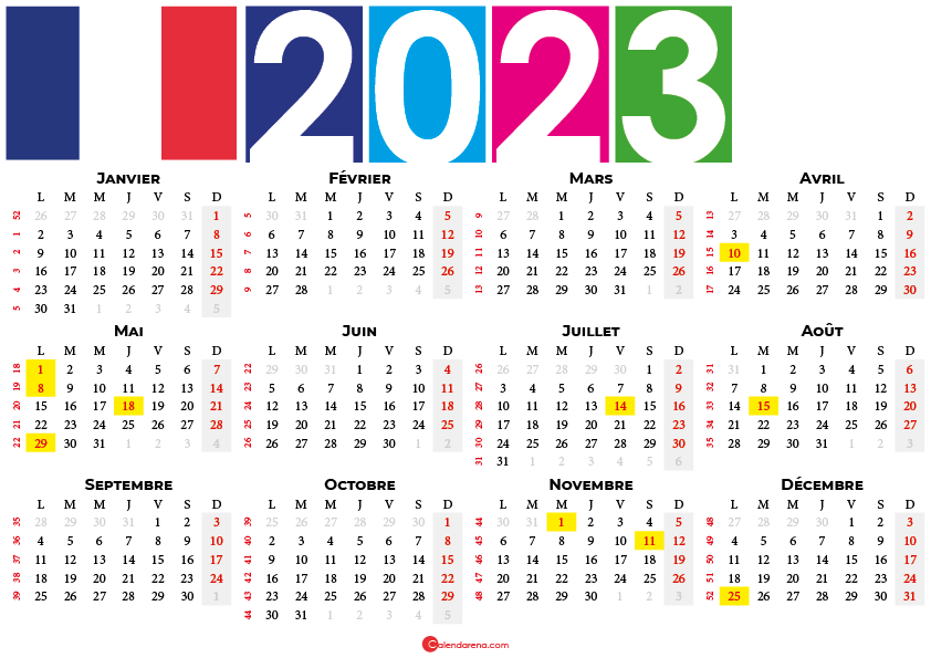 calendrier 2023 à imprimer france