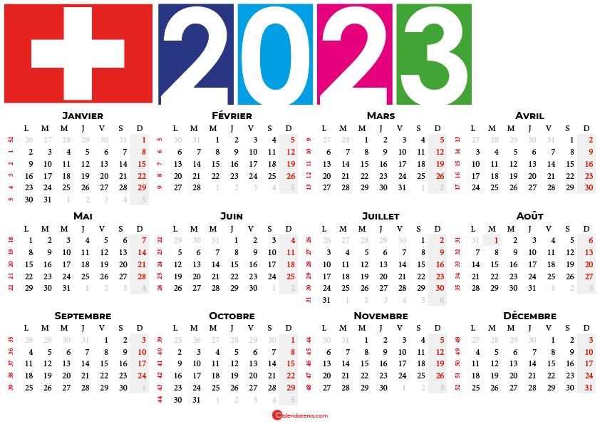 calendrier 2023 à imprimer suisse