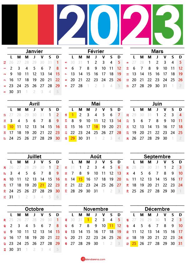 calendrier 2023 avec numéro de semaine belgique