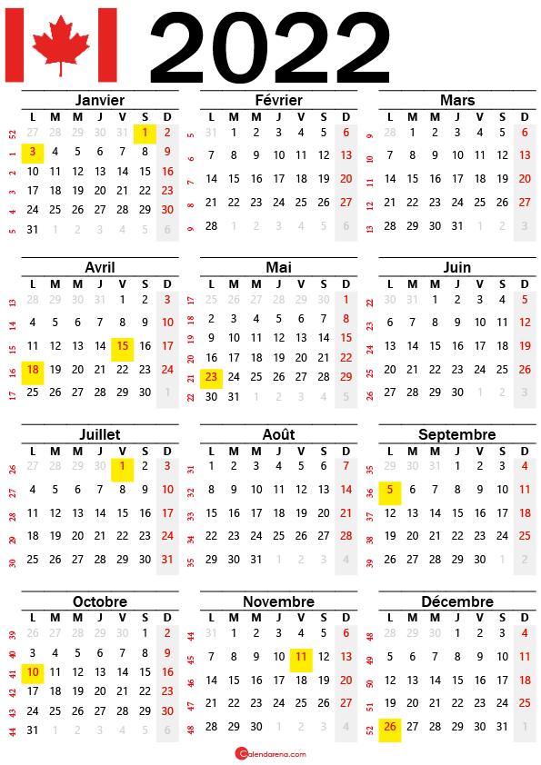calendrier mensuel 2022 à imprimer canada